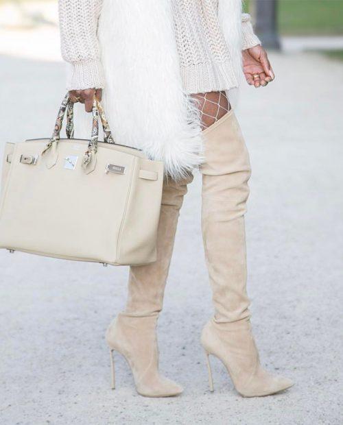 Ava - Stivali in pelle scamosciata beige