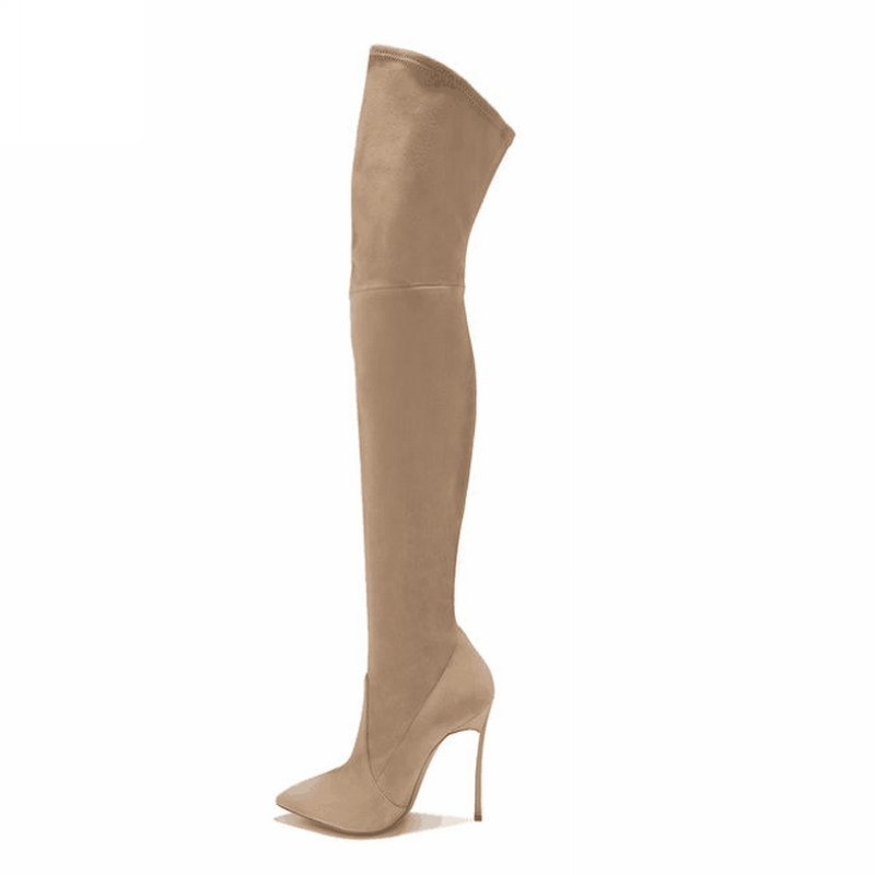 Ava Beige Suede Leather Boots (9)
