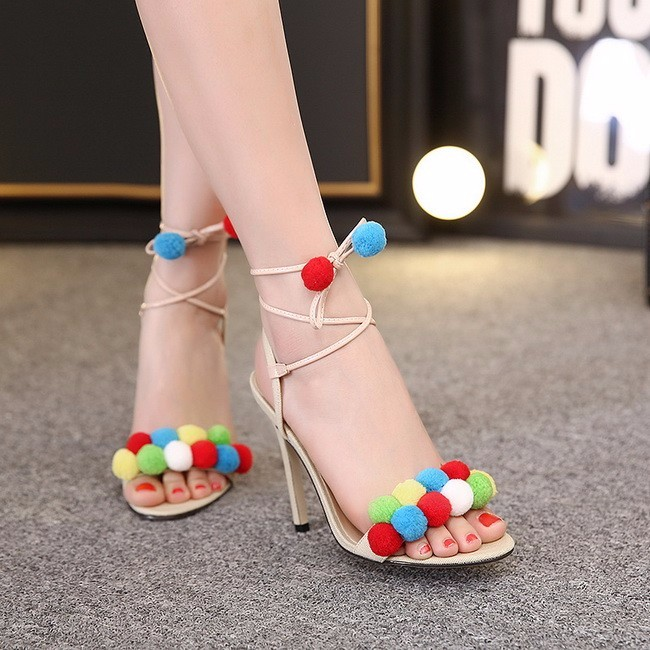 Felicia Beige Pom Pom Heel Sandals (1)