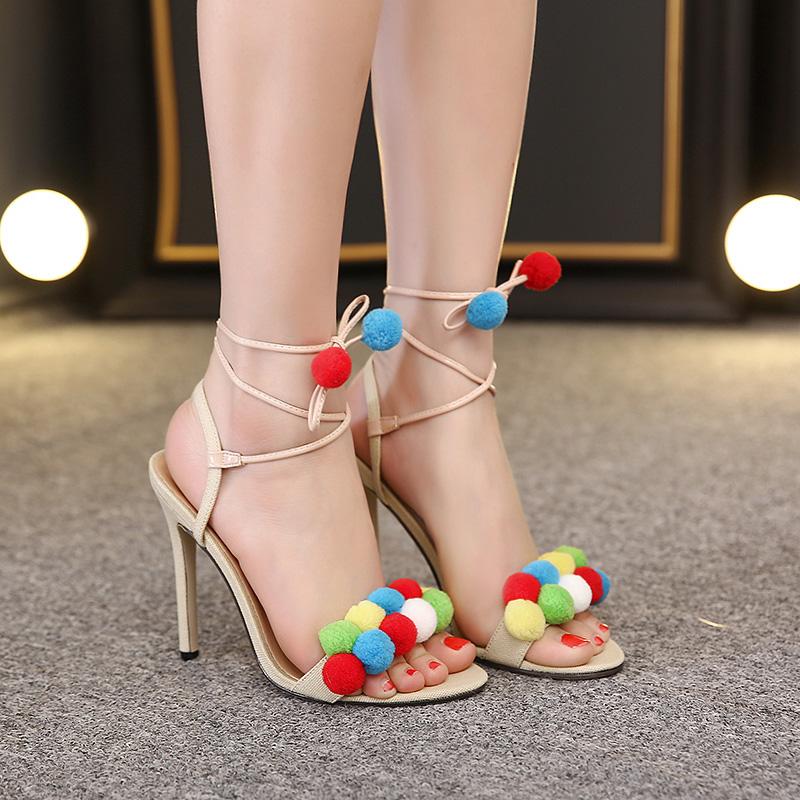 Felicia Beige Pom Pom Heel Sandals (3)