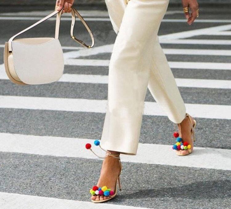 Felicia Beige Pom Pom Heel Sandals (4)