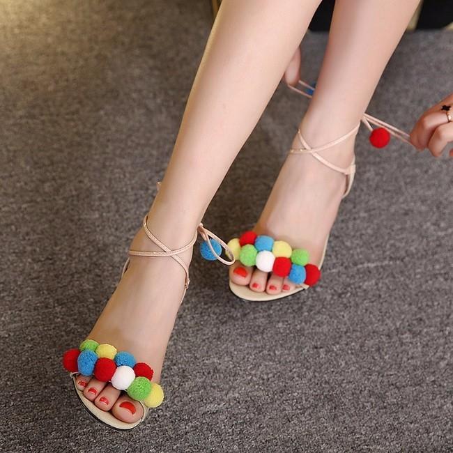 Felicia Beige Pom Pom Heel Sandals (5)