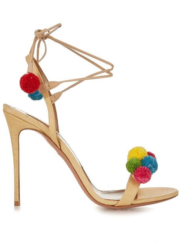 Felicia Beige Pom Pom Heel Sandals (6)