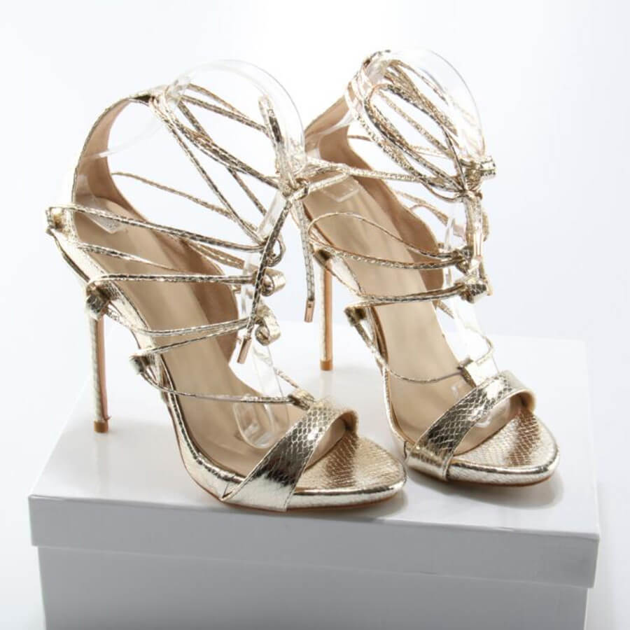Thea Gold Lace Up Sandals (5)