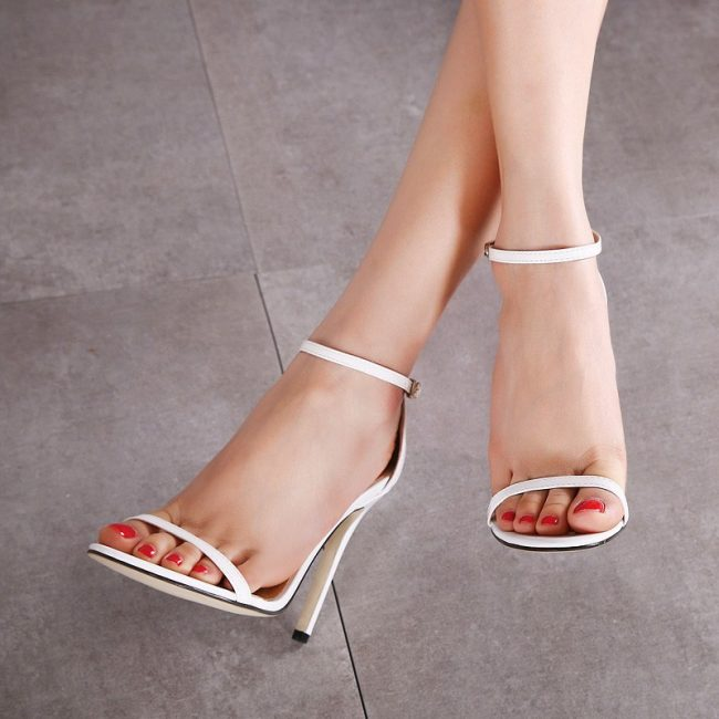 Tracy White Leather Sandals (1)