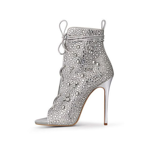 Iris Crystal Ankle Booties Silver