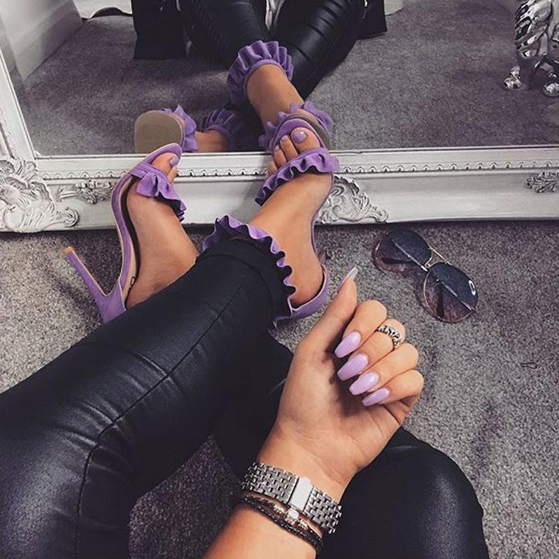 LILA RUFFLE SANDALS Purple 1