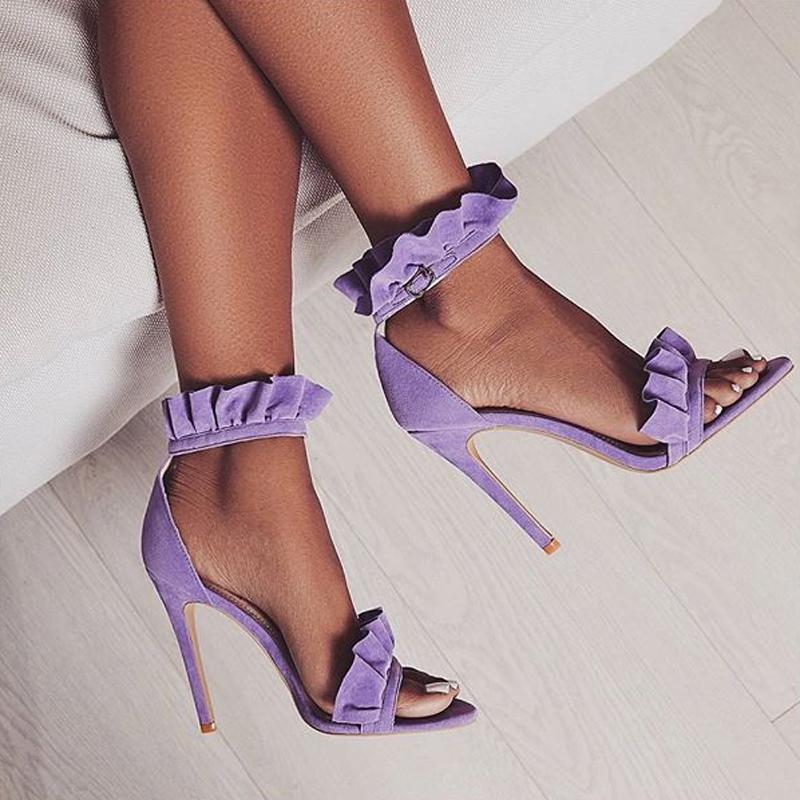 LILA RUFFLE SANDALS Purple 2