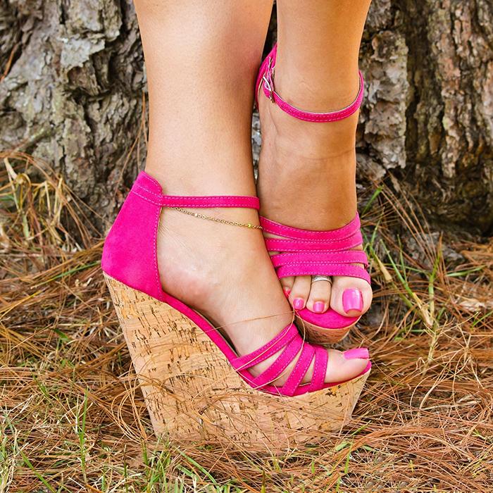 Nude beige cork wedged platforms wedges ankle strap strappy sandals high heels